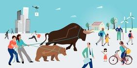 Zeichnung einer Szene mit Straßen, Häusern, Personen; ein Mann und eine Frau halten einen Bär und einen Bullen (Symbol für Börse/Finanzmärkte) an Zügeln