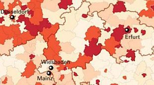 Landkarte zur Leiharbeit Ausschnitt  NRW/Thüringen/Hessen/Rheinland-Pfalz