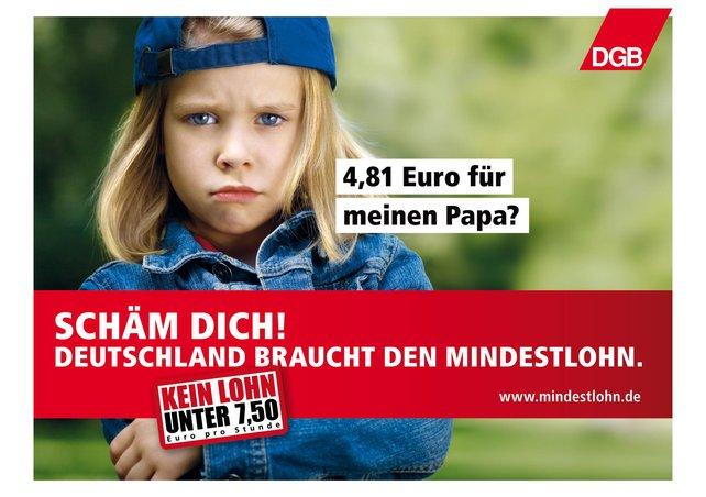 Plakatmotiv Deutschland braucht den Mindestlohn
