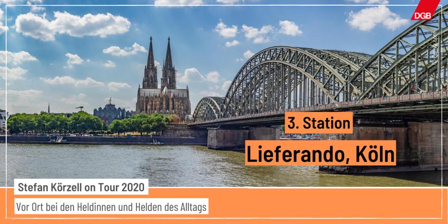Tourankündigung Station 3 Lieferando in Köln, Rhein mit Brücke und Kölner Dom