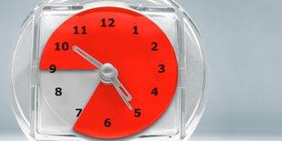 Eine Uhr, in der die Kernarbeitszeit von 9 bis 19 Uhr rot markiert ist.