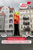 "Plakat-Motiv: ""Verdängung stoppen. Bezahlbare Wohnungen schaffen"""