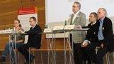 4. Hochschulpolitisches Forum: Wiss.Mitarbeiterin Carmen Ludwig, GEW Hessen Uwe Dieter Steppuhn, Hans-Böckler-Stiftung (Moderation), Klaus Böhme, ver.di; Prof. Lothar Zechlin.