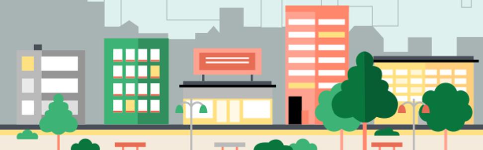 Grafik Skyline mit Wohnhäusern