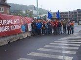Vertrauensleute der IG Metall der Deutschen Edelstahl Werke in Siegen-Geisweid setzen sich für ein soziales und demokratisches Europa ein.