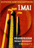 Motiv. Grafik mit zwei Industrie-Schornsteinen. Text: Völkerfrieden, soziale Sicherheit, Freiheit.