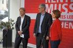 DGB-Vorsitzender Reiner Hoffmann mit Parteivorstand DIE LINKE (Riexinger / Kipping)