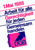 DGB-MaiPlakat 1988. Motiv: Schriftzug mit DGB-Logo.