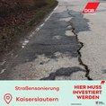 Straße mit gerissener Decke in Kaiserslautern