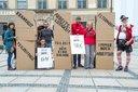 Rentenaktion in der Münchner Innenstadt