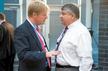 DGB-Vorsitzender Reiner Hoffmann und AFL-CIO-Präsident Richard Trumka beim L20 Gewerkschaftsgipfel in Berlin