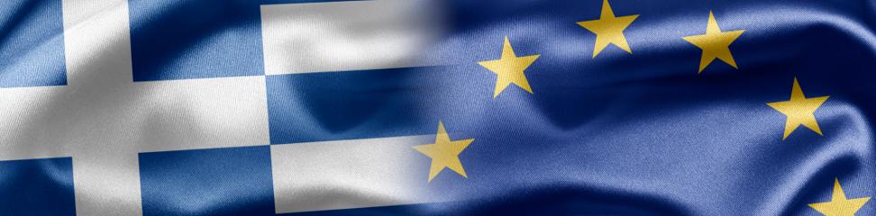 Illustration mit Fahne Griechenland und EU