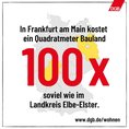 Social Media Kachel Bodenpreise in den Bundesländern: In Frankfurt am Main kostet ein Quadratmeter Bauland 100 Mal soviel wie im Landkreis Elbe Elster.