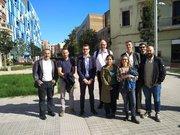 Gruppenfoto mit den Gewerkschaftskollegen der CCOO u. städtischen Angestellten in Barcelona