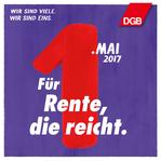 """1. Mai Grafik """"Für Rente, die reicht."""""""