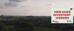 Tetraeder, Ruhrgebiet, Schild: Hier muss investiert werden
