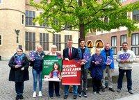 Verteilaktion im Rathaus Münster.