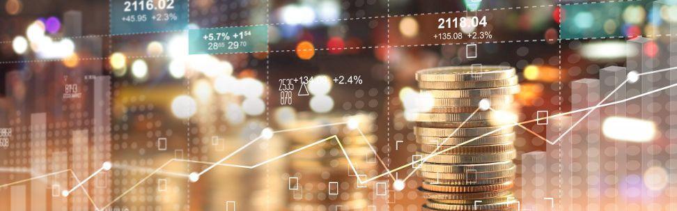 Grafik Münzstapel und Aktienkurse