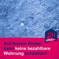 Social-Media-Grafik mit Reifenspuren und Text: Auf teurem Boden kann keine bezahlbare Wohnung entstehen!
