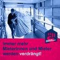 Social-Media-Grafik mit Bild Matratze wird in Umzugsauto verladen und Text: Immer mehr Mieterinnen und Mieter werden verdrängt!