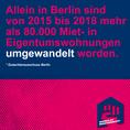 Social-Media-Grafik mit Text: Allein in Berlin sind von 2015 bis 2018 mehr als 80.000 Miet- in Eigentumswohnungen umgewandelt worden.