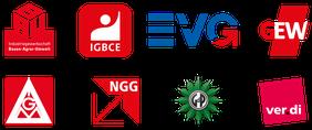 Logos der acht DGB-Mitgliedsgewerkschaften