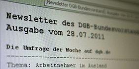Anzeige eines Newsletteranzeige in Outlook