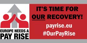 "Logo EGB-Kampagne ""Europe needs a pay rise"""