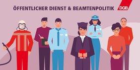 Öffentlicher Dienst und Beamtenpolitik: Verschiedenen Berufsgruppen
